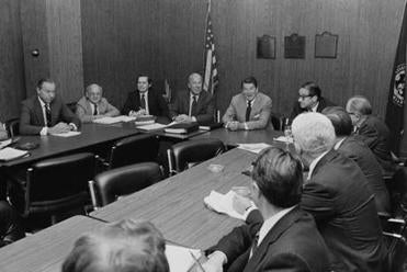 President-elect Reagan met with his economic advisers in Los Angeles in November 1980.